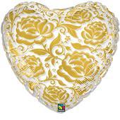Balónek srdce - zlatý,