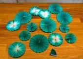 Zelenomodré vějířky, 15 kusů,