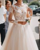 Ivory čipkované svadobné šaty s tylovou sukňou, 34