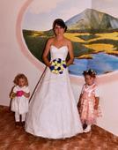 krajkové svatební šaty 36-40 + obruč zdarma, 38
