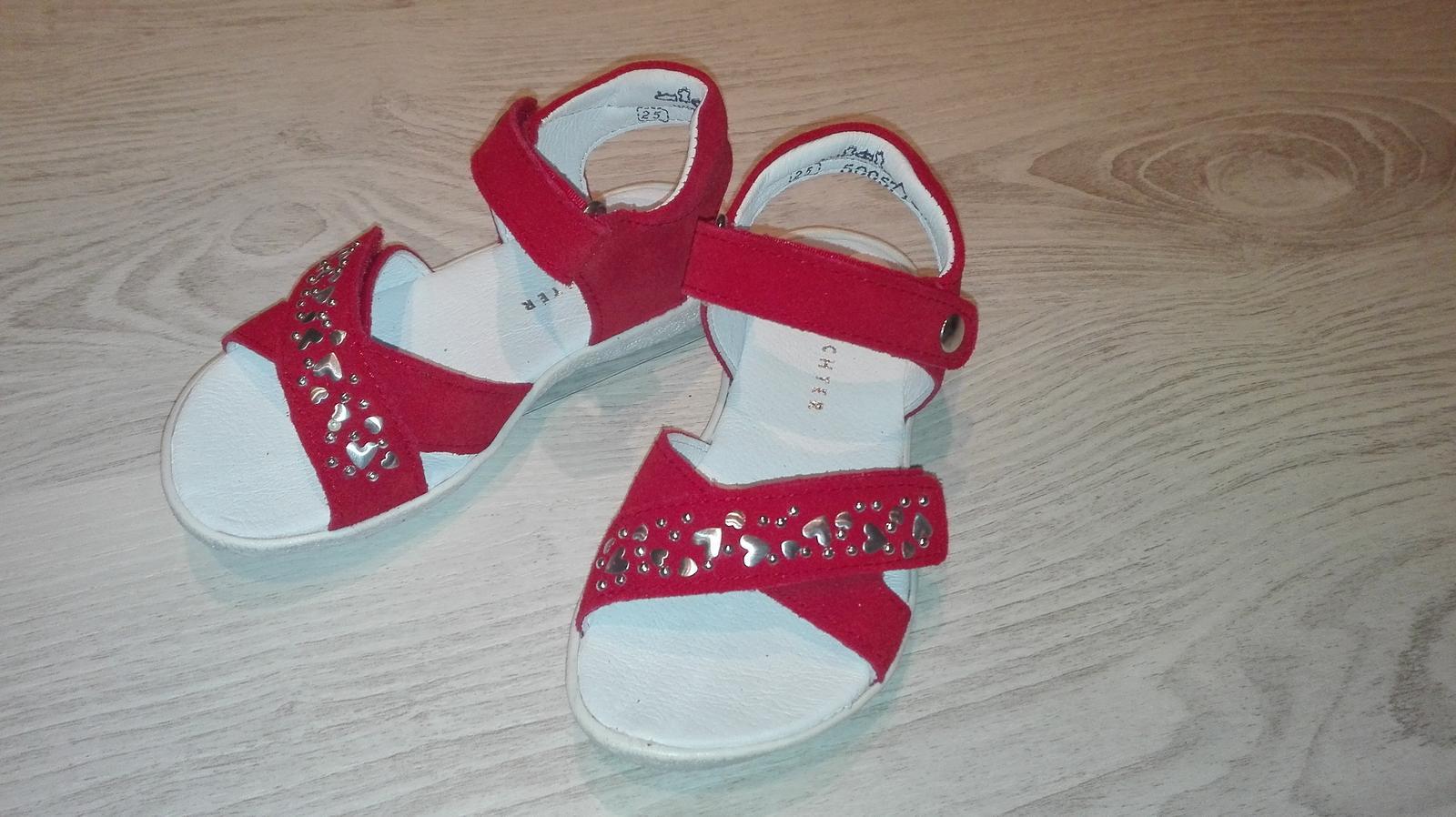 Kožené sandálky č. 25 zn. Richter červené - Obrázok č. 1