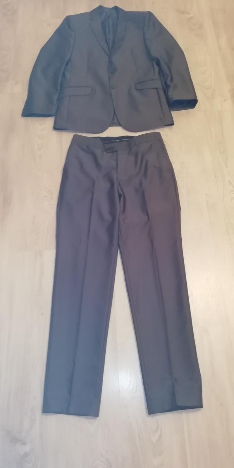 Pánsky oblek slim fit veľ. 48 lesklý - Obrázok č. 2