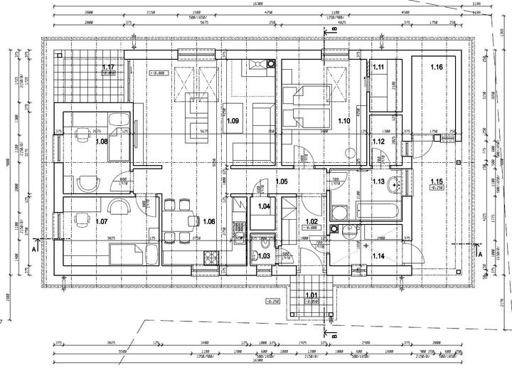 Náš vysnívaný bytík - základy a hlavné múry - Pôdoris nášho domčeku 1.1 vchod, 1.2. chodba, 1.3.záchod, 1.4.špajza, 1.5.chodbička, 1.6.kuchyňa, 1.7.detská izba, 1.8.pracovňa, 1.9.obývačka, 1.10.spálňa, 1.11.šatník, 1.12sušiareň, 1.13kúpelňa, 1.14kotolňa, 1.15.sklad dreva,1.16.dielňa,1.17.terasa