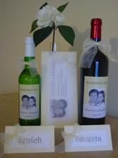 Svadobné víno, oznámenie, menovky (vlastná výroba)