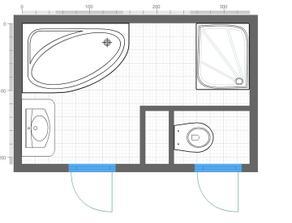 Nechce se mi platit tak hříšné peníze za 3D návrh tak zatím jednoduchý návrh koupelny SIKO. Sprchový kout bude zděný a budou skleněné dveře. Uvítám Vaše rady.