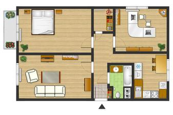 Půdorys bytu jak asi bude vypadat po rekonstrukci