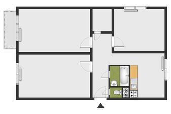 Půdorys bytu jak asi bude před rekonstrukci