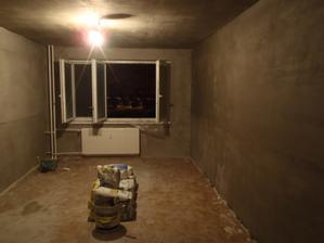 Právě natáhnutý pokoj vypadá to hrozně dokud je to mokré jak kobka