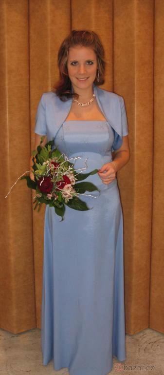 Společenské modré šaty - Obrázek č. 1