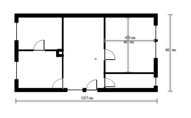 Rekonštrukcia starého domčeka - Pôdorys súčasného  stavu .