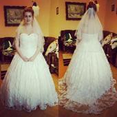 Celočipkové svadobné šaty, 42