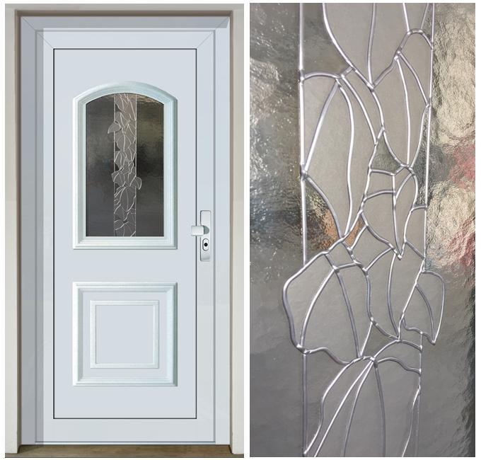 Decorglass vitráž Waia blanc - Vchodové dveře s plastovou dveřní výplní GAVA 012 a vitráží Waia blanc+detail vitráže
