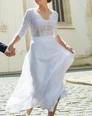 Jednoduchá biela svadobná sukňa  , 38