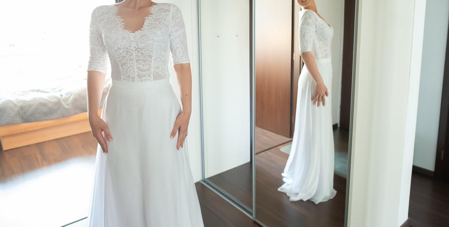 Jednoduchá biela svadobná sukňa   - Obrázok č. 1