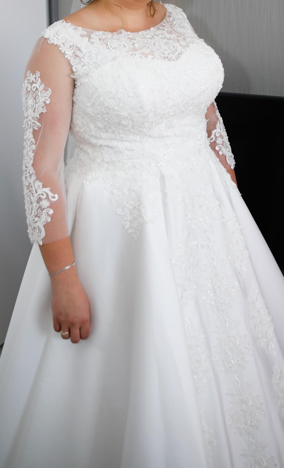 Svadobné šaty satén, čipka 46-50 - Obrázok č. 1