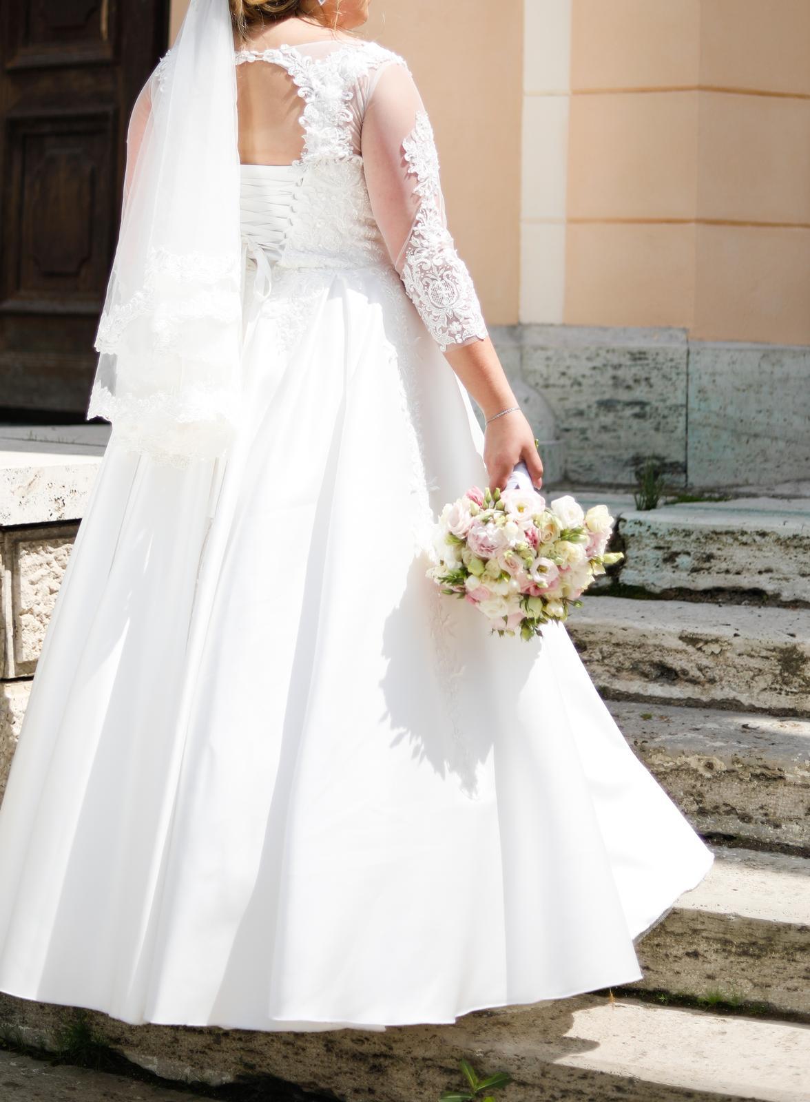 Svadobné šaty satén, čipka 46-50 - Obrázok č. 2