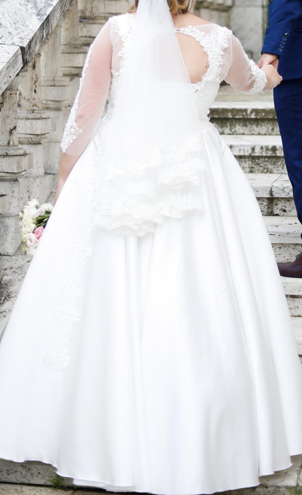 Svadobné šaty satén, čipka 46-50 - Obrázok č. 3