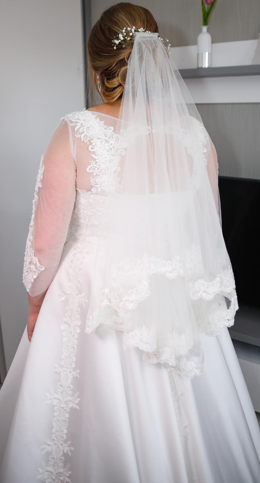 Svadobné šaty satén, čipka 46-50 - Obrázok č. 4