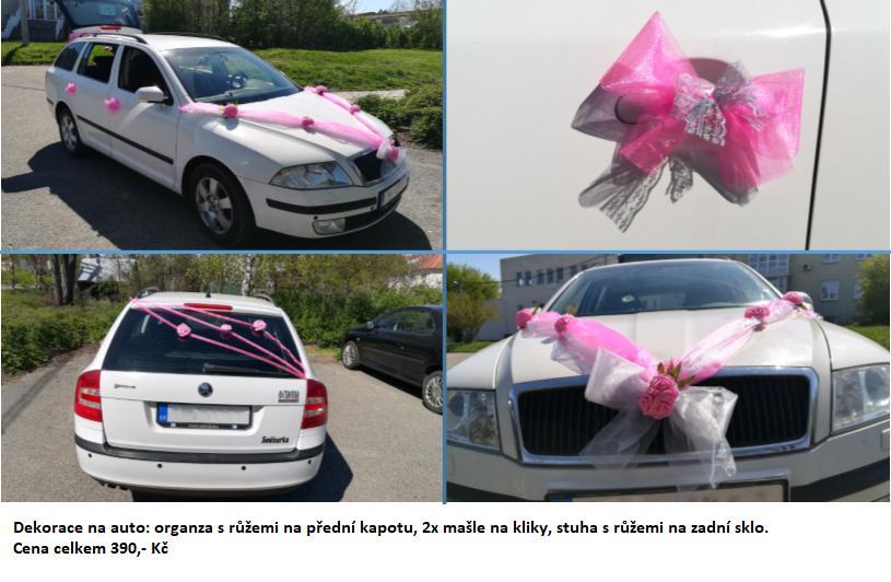 Dekorace na auto - šedo-růžová - Obrázek č. 1