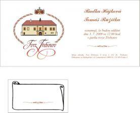 svatební oznámení+jmenovka na hostinu