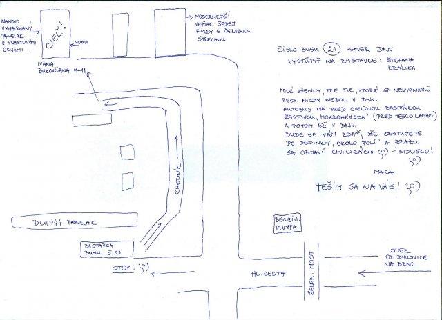 Fialllka a bobek 2 - tak tu je sľúbená mapka, ten cieľový panelák je farby zlto-bezovej :O))) keď sa budete držať a nájdete šedý vežiak s červenou strechou, tak cieľ od neho je druhý panelák :O)))