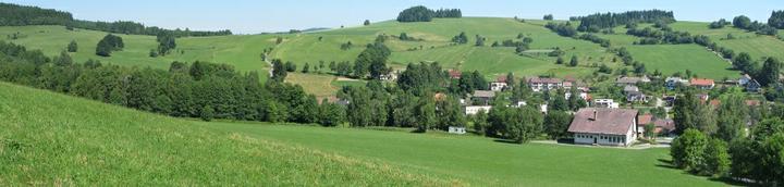 Obec Vecov, nas pozemek je nalevo od cesty, ktera se v leve casti fotky splha smerem vzhuru (prave v miste, kde se objevuje zpoza stromu)