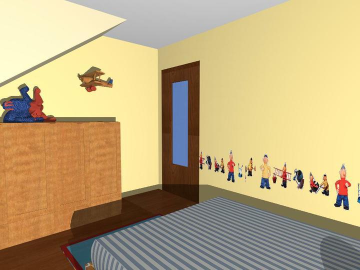 "Matúškova herňa + detska spálňa - navrhy od ""Fra"" - nalepky su super, ide to zo steny?"