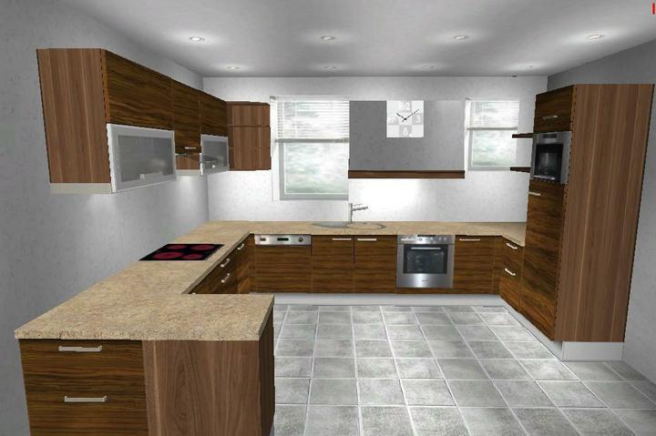 Nová kuchyňa objednaná - realita vs vizualizacia - takto nejak to bude vyzerat (umyvacka sa podala viac doprava) a horne presklene skrinky budu v drevenom dekore