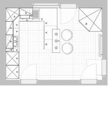 půldorys..nákres kuchyně  - skříň v rohu bude tohoto tvaru, ale jen 80x80cm, teď je jen pro představu