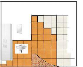 velmi amatérský návrh obkladů v koupelně..:-p
