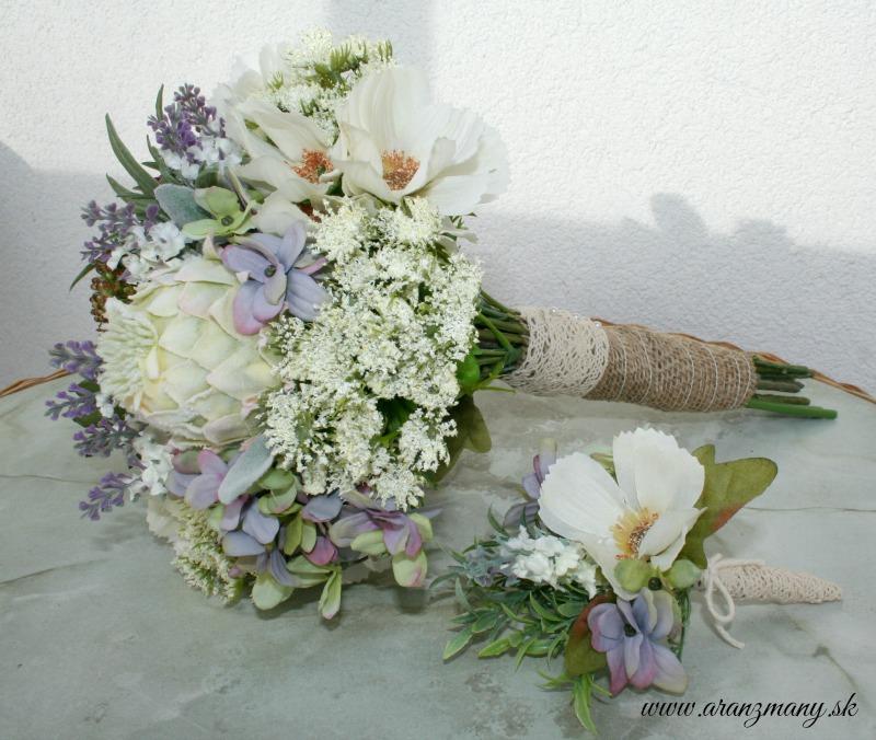 Kytica z umelých a látkových kvetov - Obrázok č. 1