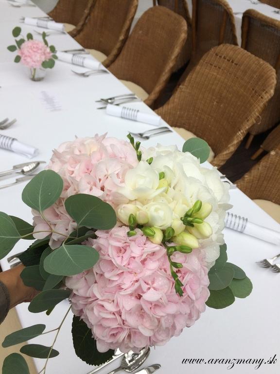 Elegantná svadobná kytica z hortenzií a frézií - Obrázok č. 1