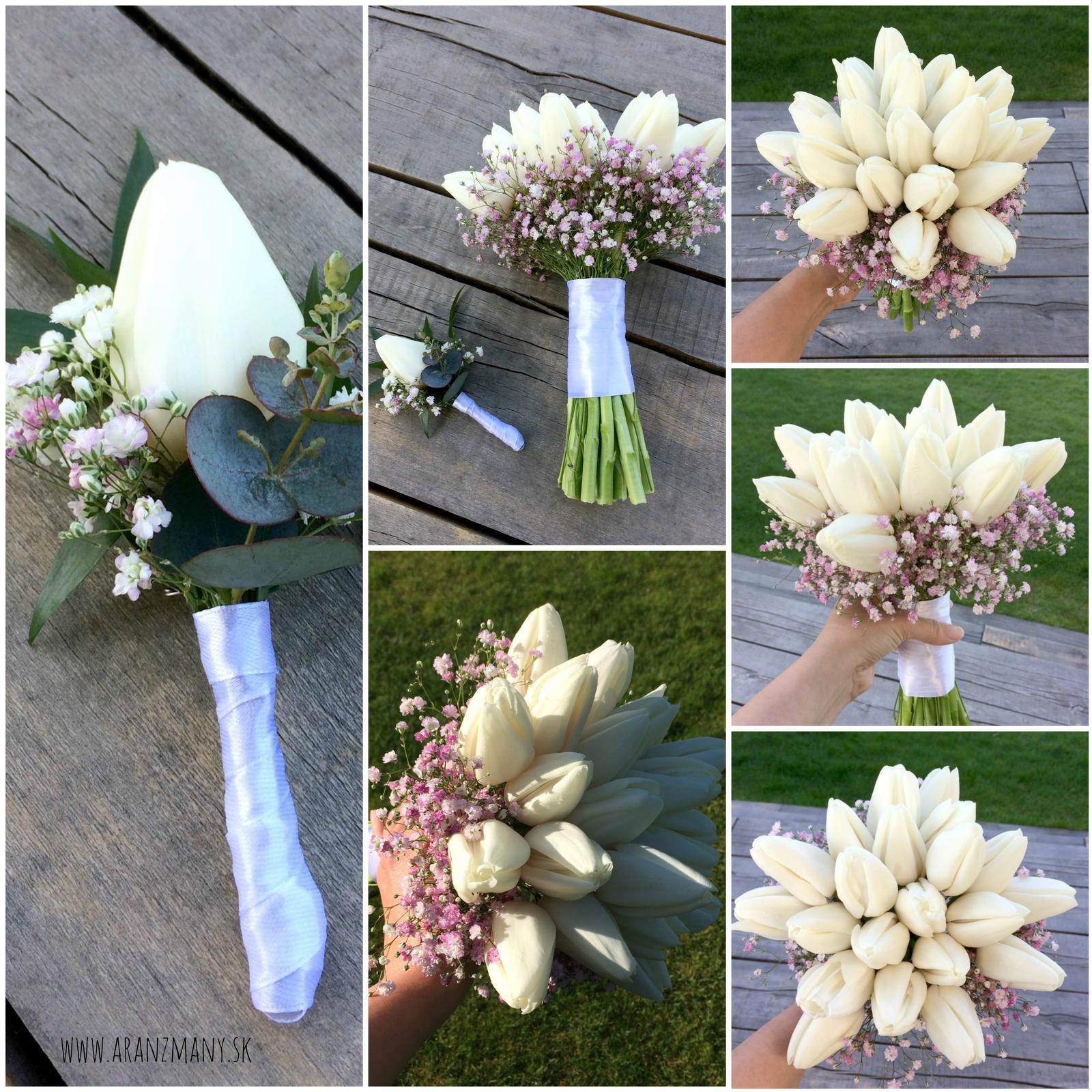 Gabriela Turanská - aranžmány - svadobna kytica z tulipanov