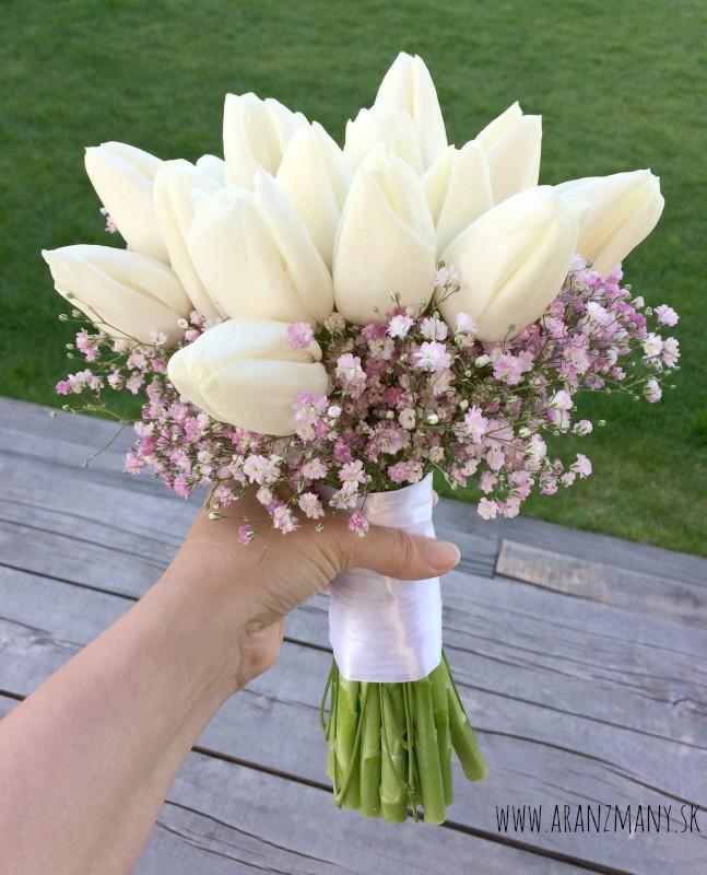 Svadobná kytica z tulipánov - kytica z bielych tulipanov