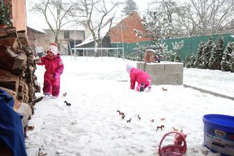 Náš první sníh na domečku a venčíme se úplně všichni :-D