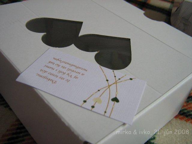 Mirka&Ivko - krabička na výslužky s Thank You Card