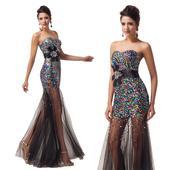 Barevné šaty s flitry, 38