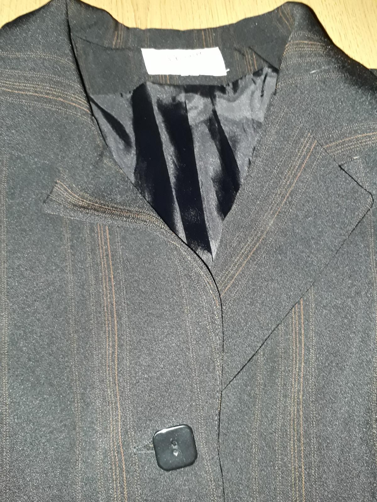 dámský kalhotový kostým s oranžovým proužkem 40/42 - Obrázek č. 3