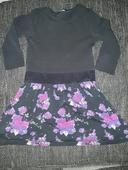 černé dívčí šaty s kvítky, vel 6-7 let, 122