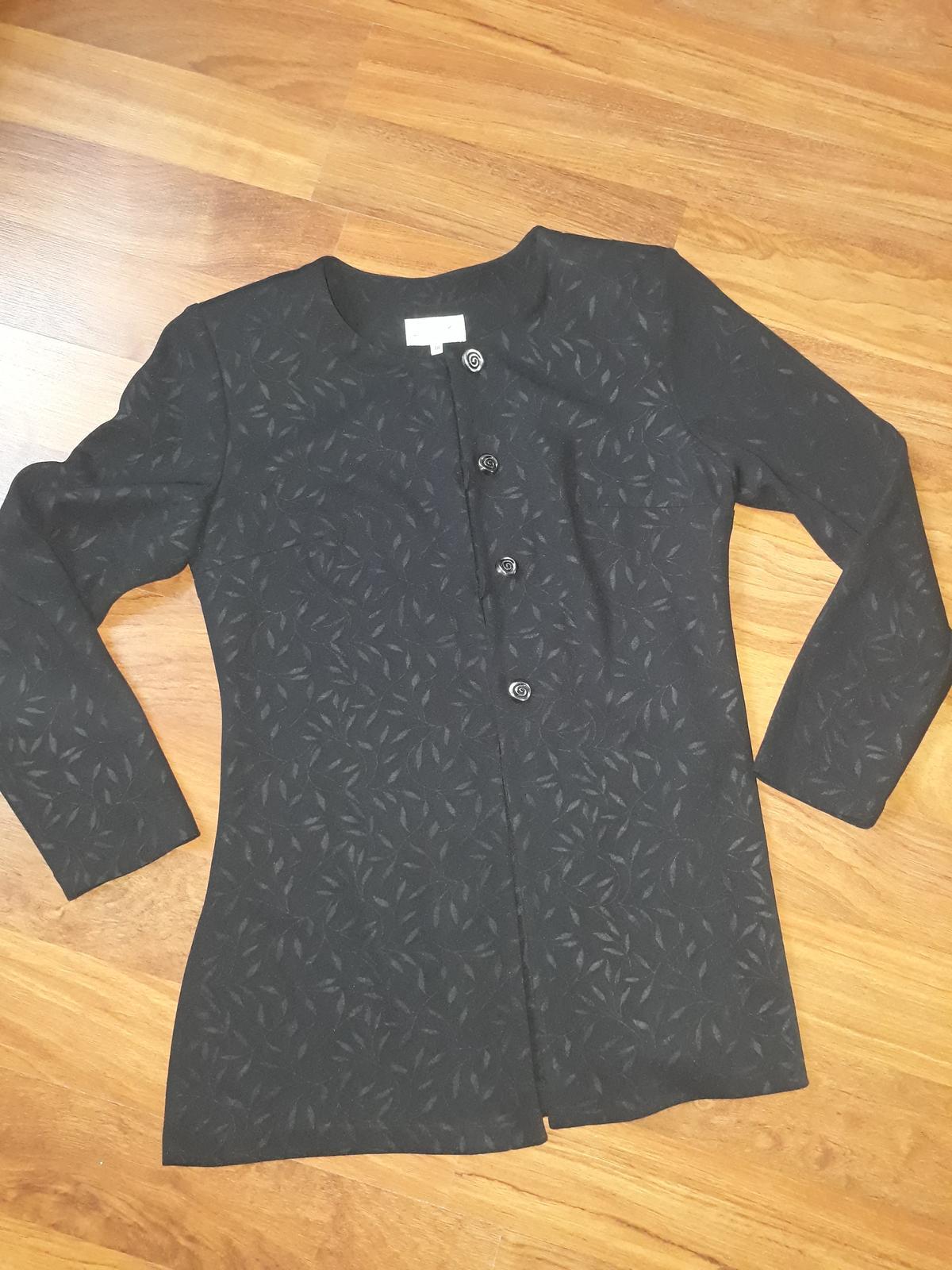 černý kabátek/sako se vzorem, vel 38 - Obrázek č. 1