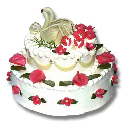 Svatební dorty - kulaty, labute