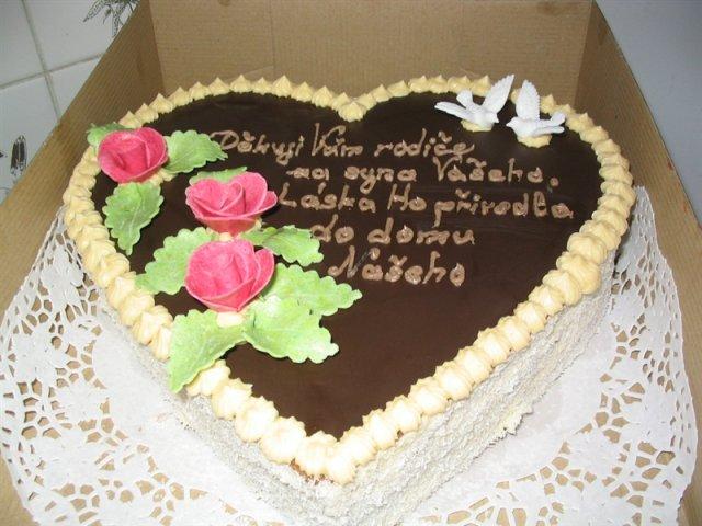 Svatební dorty - děkovací srdce