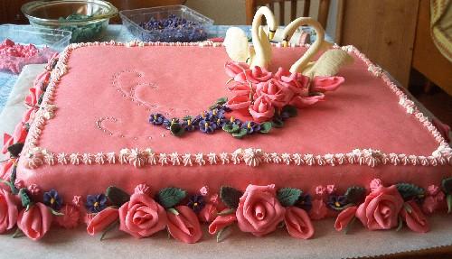 Svatební dorty - labutí jezero
