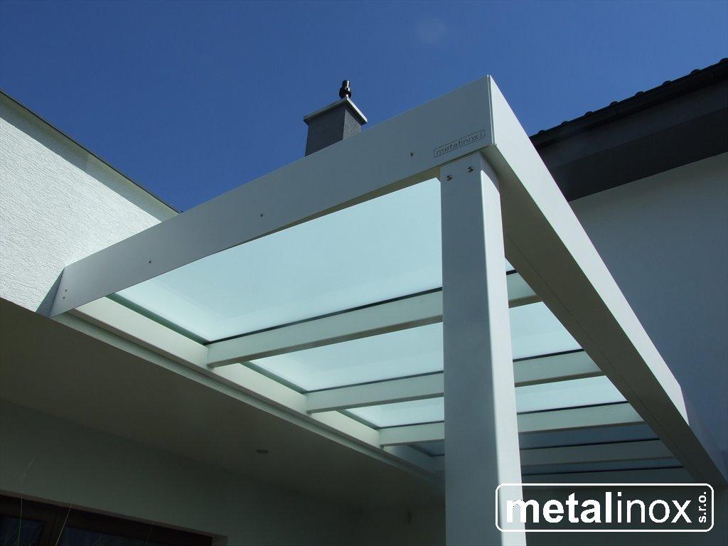 metalinox - Oceľový prístrešok Modern s krytinou mliečne sklo