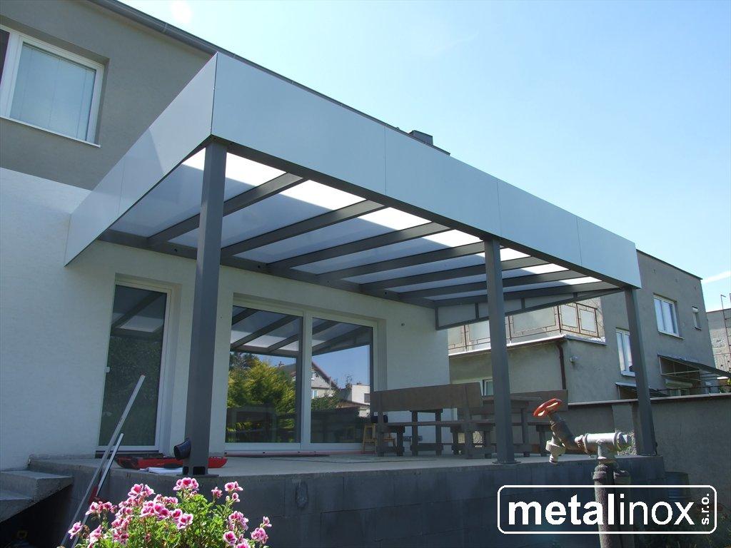 metalinox - Oceľový prístrešok Modern s obkladom a krytinou Lexan