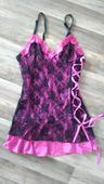 Krajková košilka růžovo- černá, 36