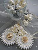 Svadobné náušnice a perličky do vlasov,