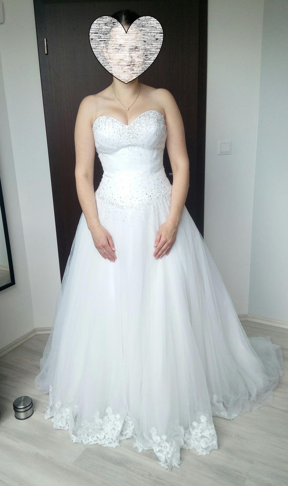 Svatební šaty sněhově bílé, vel. 38-42 - Obrázok č. 1