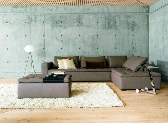 Filidomek - představy - a jeste jedna betonova stena. V Kombinaci s prkenou podlahou (asi orech nebo tak neco) by to mohlo byt zajimave ne? Ale sedacku bych chtela spis enjakou starsi (alespon vzhledem - ty dnesni mi nesedi)