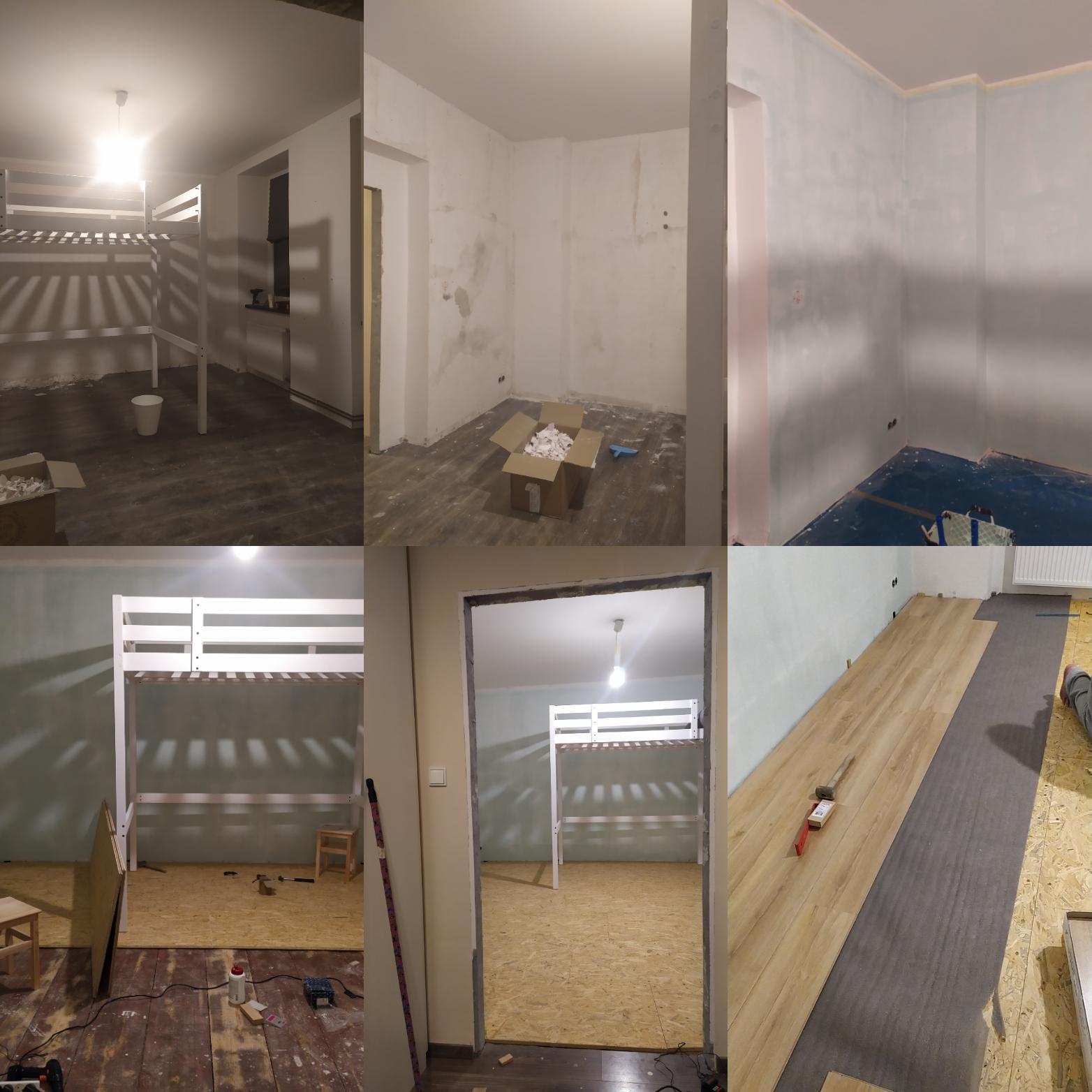 Znovu a lépe II. - Uzrál čas a v pátek začala akce pokojíček pro Emilku, která do neděle odjela na víkend k tátovi...takže vyklidit pokoj, oškrábat, sundat podlahu a udělat novou z OSB desek a plovoucí podlahy